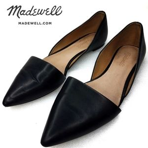 Madewell D'orsay Lydia Black Leather Flats